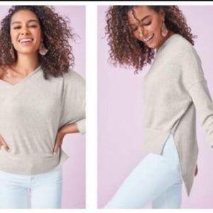 Stella & Dot VNeck Asymmetrical Oatmeal Sweater XS